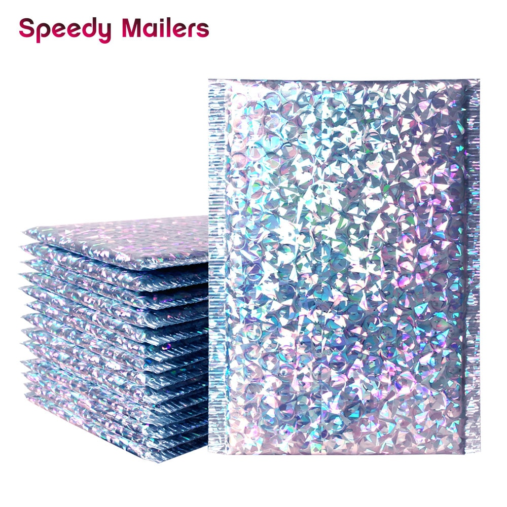 Sobres de correo Speedy Mailers 10 Uds. Color plata con láser, bolsas impermeables para mensajería, bolsas de correo con burbujas, sobres acolchado burbujas