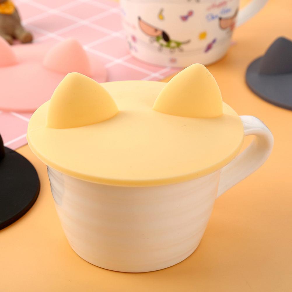 Taza de café vidrio de silicona de grado alimenticio creativa a la moda Oreja de Gato tapa de la tapa de agua resistente al calor herramienta a prueba de fugas