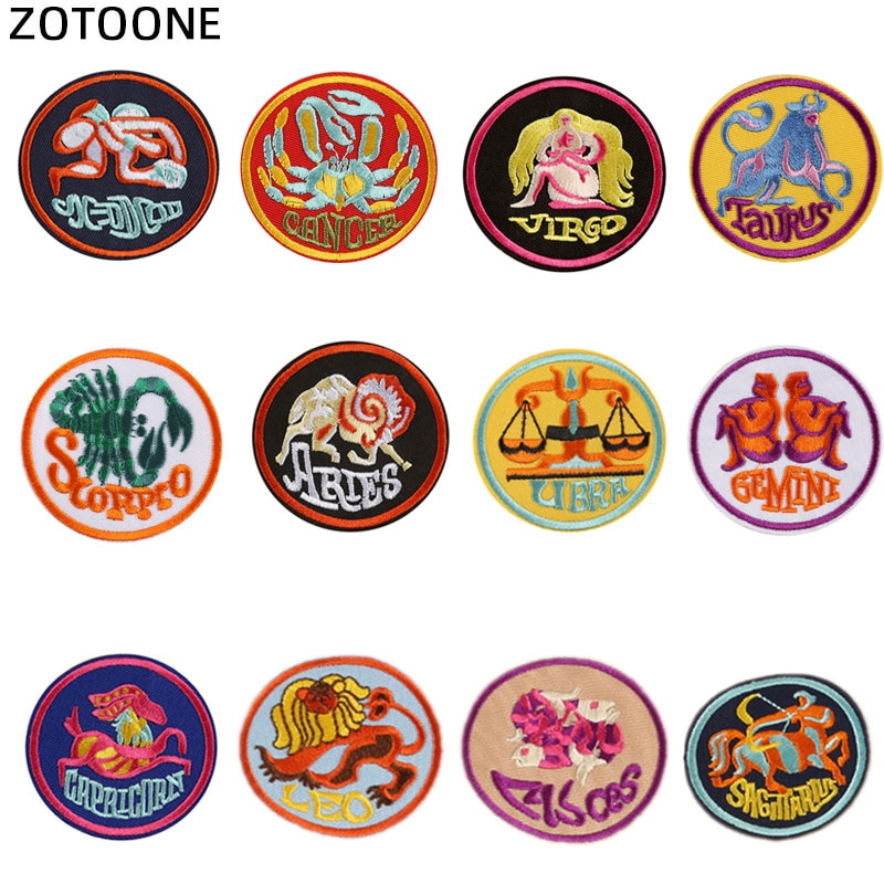 ZOTOONE12 constellations Patches Badge Diy Sticker Iron on Clothes Heat Transfer Applique Embroidered Applications Cloth FabricS
