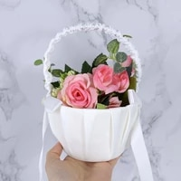 1pc romantic white ribbon bowknot pearl wedding flower basket decoration flower girl basket wedding party floral storage decor