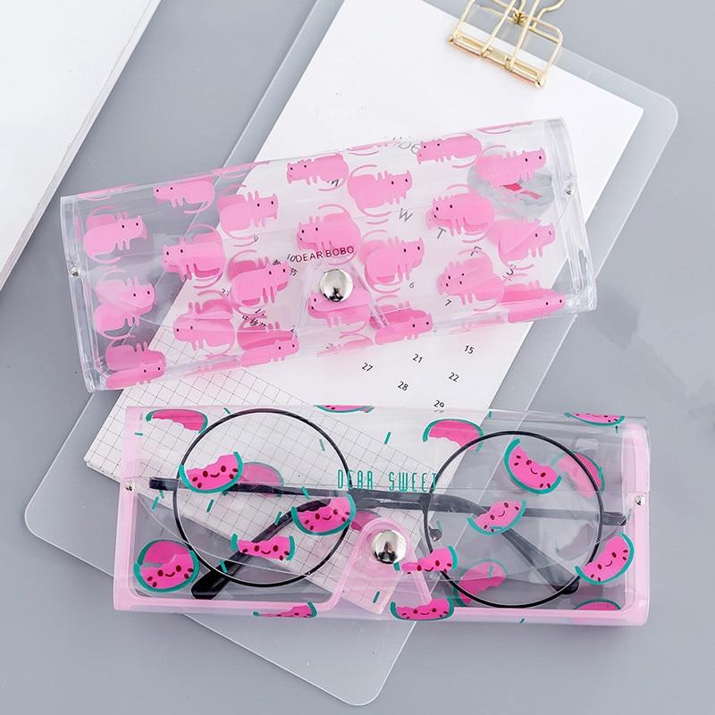 Estuche estuche de viaje transparente de PVC con caricaturas para gafas, estuche de protección, caja de transporte, accesorios para gafas