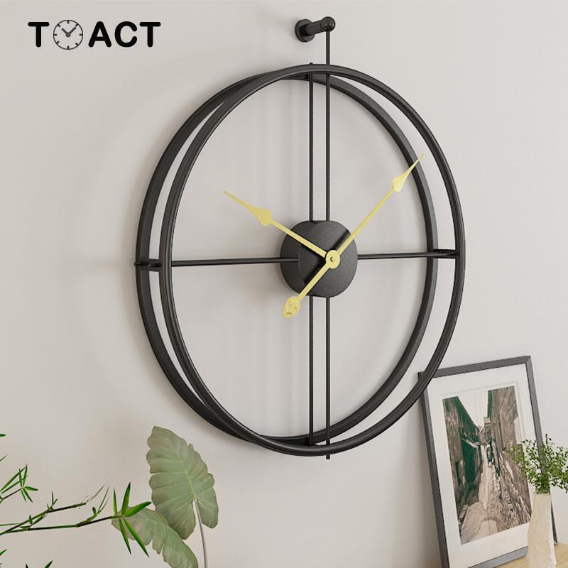Кованые настенные часы Lron, украшение дома, офисные большие настенные часы, монтируемые немые часы, Европейский современный дизайн, Висячие ...