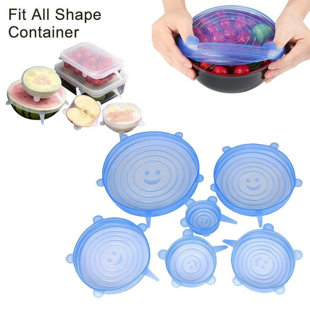 New 6PCS Silicone Stretch Lids Universal Silicone Food Wrap Bowl Pot Lid Silicone Fresh Cover Pan Cooking Kitchen Accessories