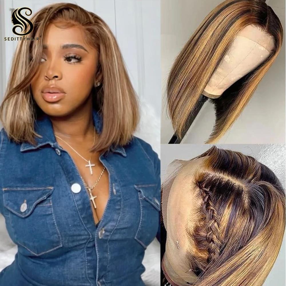 Sedittyhair Highlight Wig Brazilian Straight Human Hair Bob Wigs 13x4 Lace Wig Ombre Piano P4/27# Color Hair Short Bob Wig 150%
