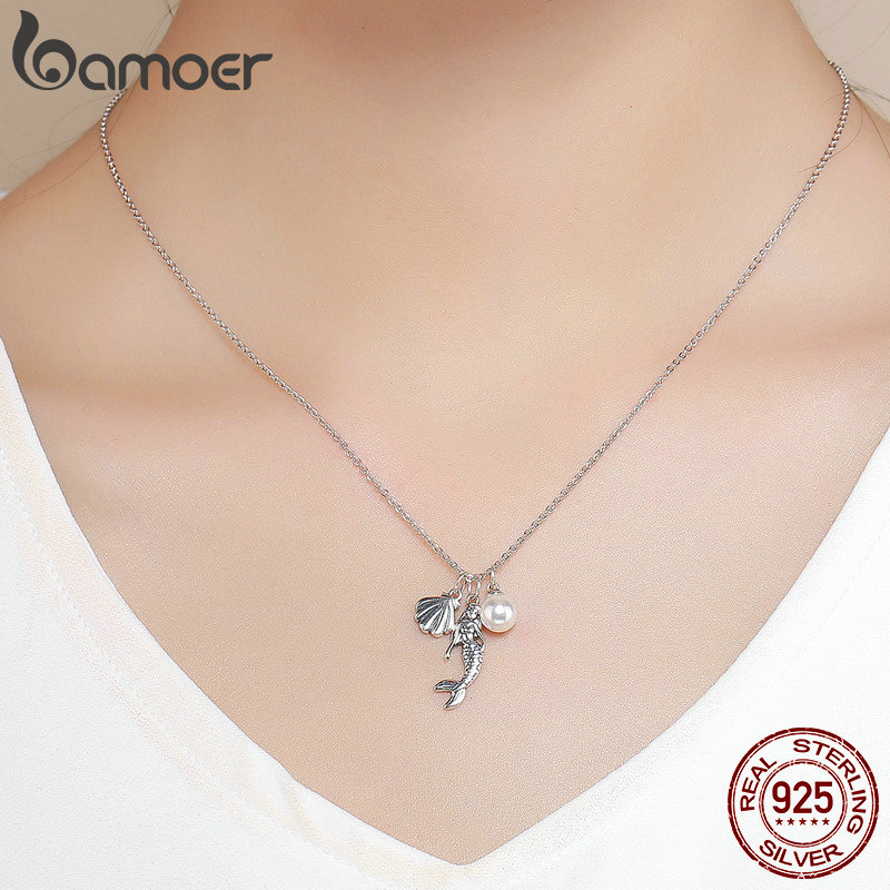 BAMOER 100% 925 Sterling Silver Romantic Mermaid-Legend Shell Pendant Necklaces for Women Sterling Silver Jewelry Gift SCN237  - buy with discount
