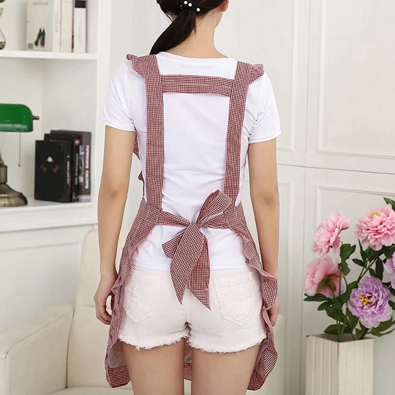 Korean fashion apron waterproof kitchen oil-proof nail shop milk tea shop coffee shop beauty salon overalls women double-layer enlarge