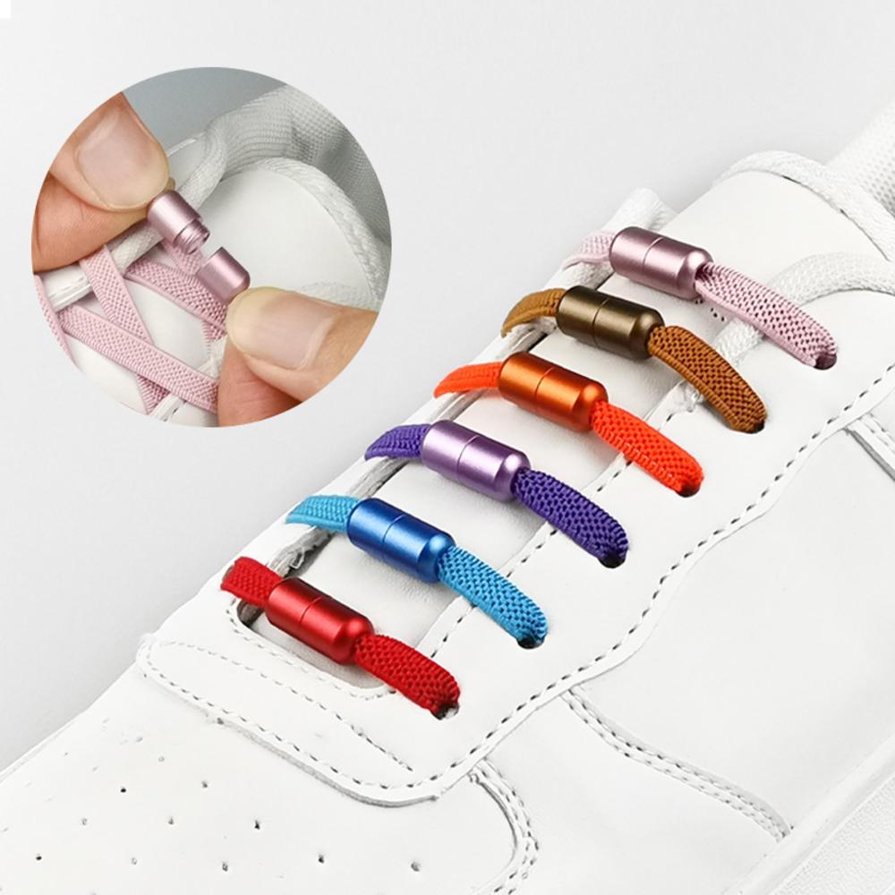 1 par de la corbata de bloqueo de Metal de los cordones de los zapatos Multicolor ronda Cordones elásticos para zapatos para niños y adultos de seguridad rápido perezosos cordones