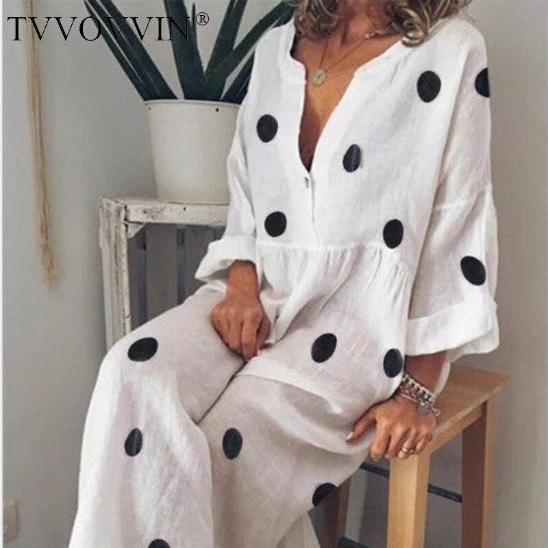 Женское свободное платье до щиколотки TVVOVVIN, 5 цветов, S-5xl, лето 2020, Европейский стиль, длинный рукав, в горошек, v-образный вырез, F336
