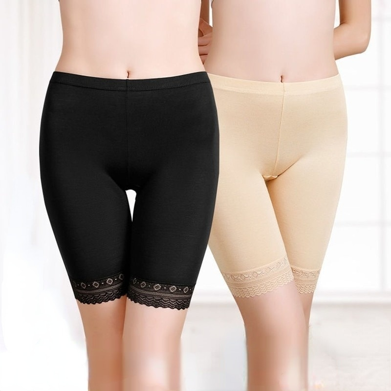 Safety Short Pants Women Under Skirt Anti Chafing Modal Spandex Plus Size Underwear Sexy Lace Boy Shorts for Women Panties