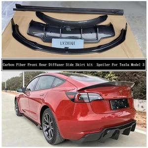 For Tesla Model 3 2019 2020 20212022 Carbon Fiber Front Rear Bumper Diffuser Lip Spoiler Body Side Skirt kit Car Accessories