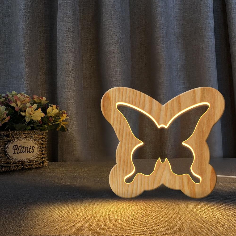 Buttlefly Elefante Caracol Fantasma Mais Recente Figura Animal De Madeira 3D LED Noite Novidade Kid Quarto Novo Candeeiro de Mesa de Luz Branca Quente