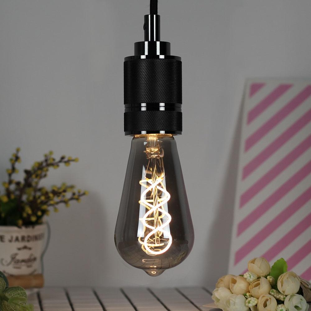 Винтажная Светодиодная лампа Эдисона TIANFAN ST64, диммируемая спиральная лампа с нитью накаливания 4 Вт, 2700k, 220 В, E27, декоративсветильник Па