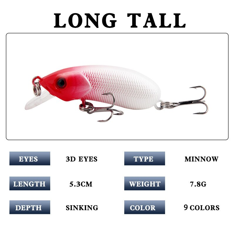 5Pcs Sinking Minnow Wobblers 5cm8g Jerkbait Artificial Hard Bait Crankbait Fishing Lure For Perch Pike Trout Bass Fishing Tackle enlarge