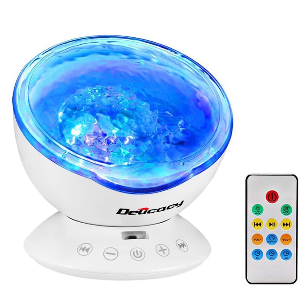 Ola de mar proyector de luz nocturna 12 LED de Control remoto bajo el mar proyector lámpara con 7 colores que cambian reproductor de música para niños adultos