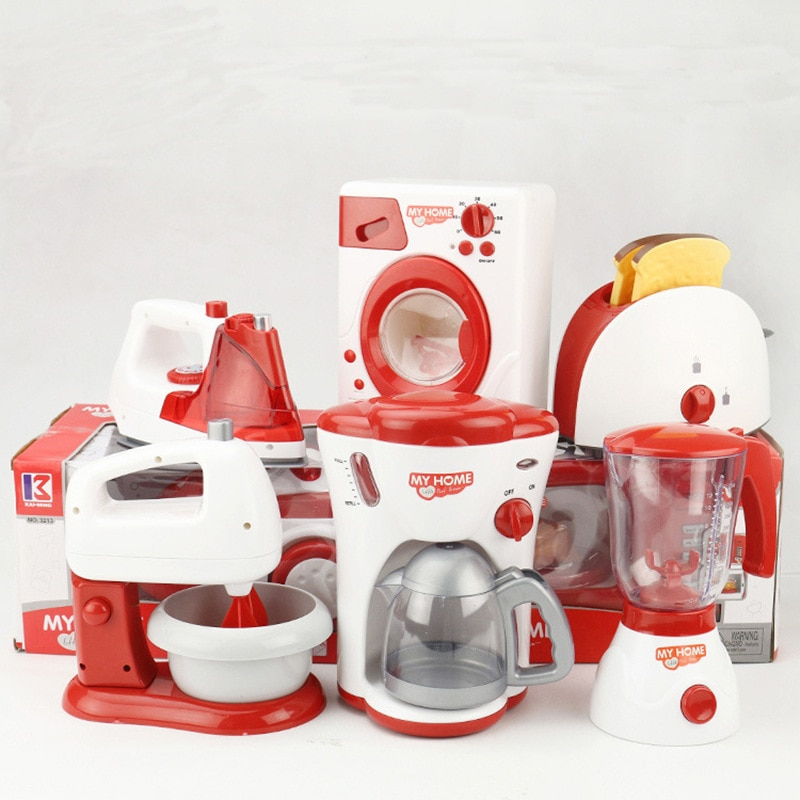 Household Appliances Kids Kitchen Toy Set Blender Children Toaster Vacuum Cleaner Cooker Educational
