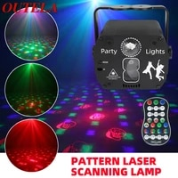 outela 8 hole pattern laser scanning lamp led flashlight voice control stage lamp remote control for ktv bar