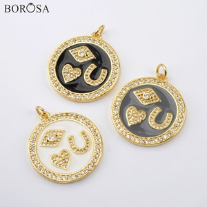 BOROSA 10/20Pcs Stylish Gold Pendants Round Enamel Paint CZ Micro Pave Pendant for Necklace DIY Women Earrings Jewelry WX1518