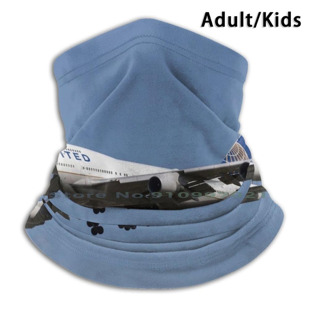 United Boeing 747-422 Scarf Mask Neck Warmer Face Wraps Foulard Bandana Mascarillas United United Un