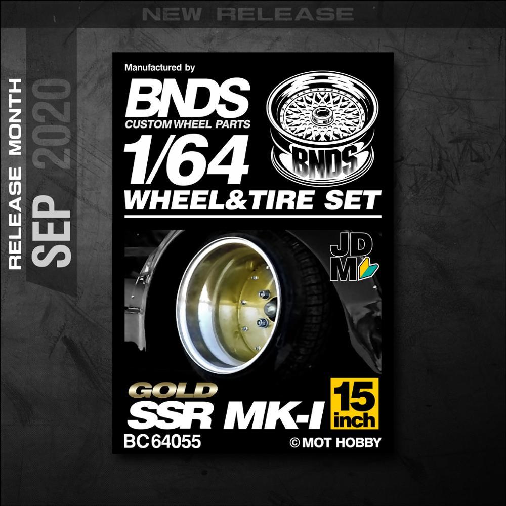 Bnds 164 rodas de metal pneu de borracha por MK-1 ssr quente montagem aro personalizado modificado peças jdm modelo carro veículo 4 pces conjunto brinquedo