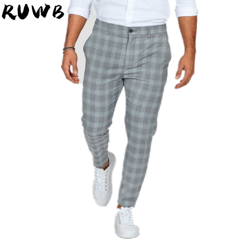 Summer Men Plaid Pants Casual Elastic Long Trousers For Male Sporting  Breathable Work Pant Mens With Plus Size bauskydd mens polycotton durable work trousers with eva knee pads black work pant workwear carperner pant men free shipping