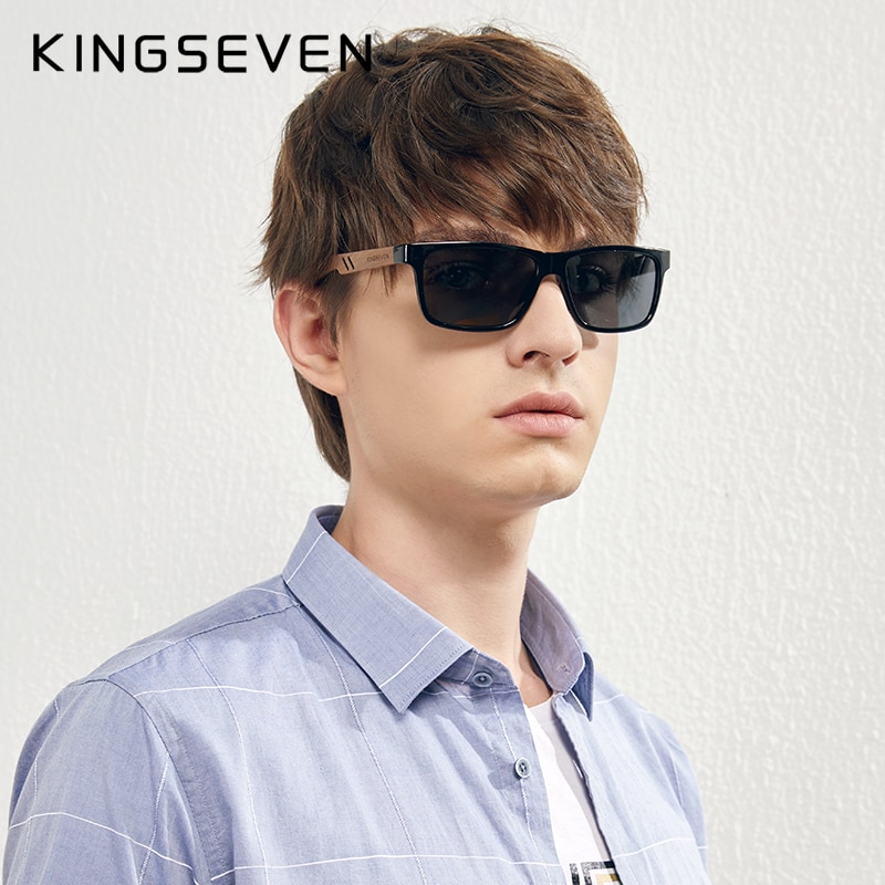 KINGSEVEN Polarized Square Retro Zebra Wooden Sunglasses Men Women Frame Mirror Flat Lens Driving UV