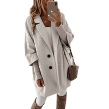 Women Autumn 3/4 Sleeve Solid Color Faux Wool Coat Notched Lapel Buttons Loose Outerwear Basic Midi