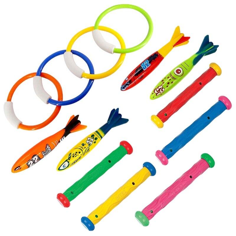 Juego de 13 unidades de juguetes de buceo para piscinas, lanzador, Torpedo, anillo de buceo y varilla de buceo