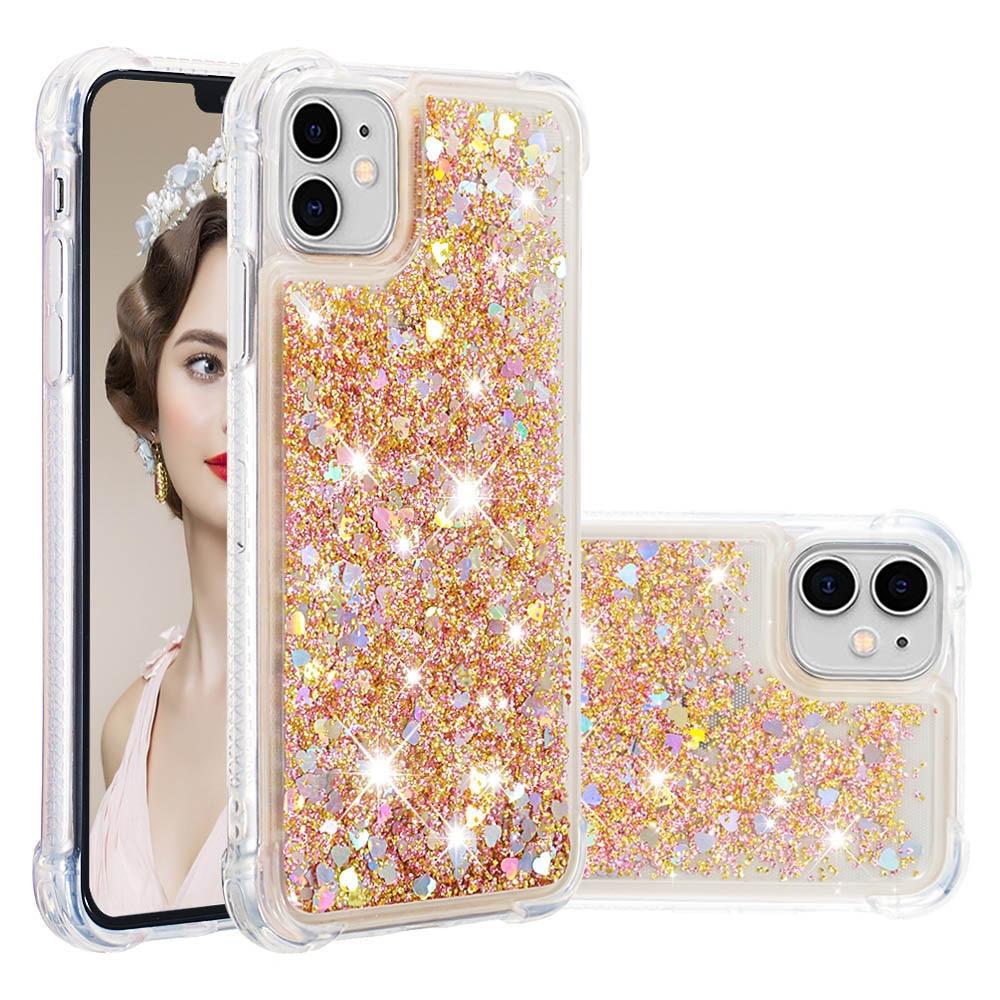 Rosa amor corazón teléfono caso para IPhone SE 2020 XS Max X XR 6 6S 7 Plus 11 Pro líquido arenas movedizas caso cubierta Bling lentejuelas