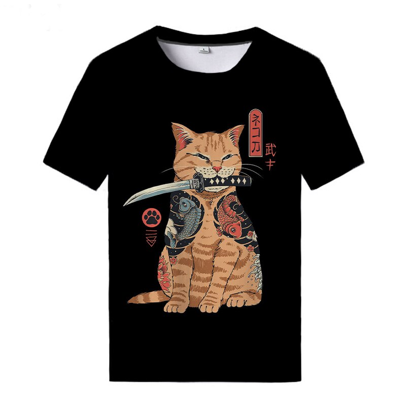New Ramen Cat T-shirts Cute Short-sleeved Shirts Unisex Summer T Shirt Harajuku Japan Funny