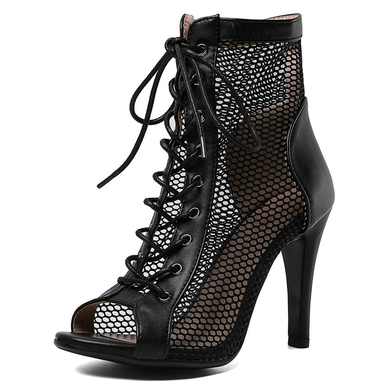 Women's Sandals 2021 High Quality Air Mesh Sexy High Heels Open Toe Gladiator Sandal Black Summer Da