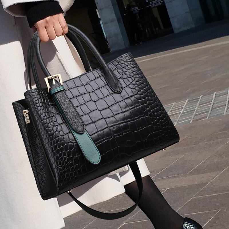 100% Genuine Leather Handbags 2021 New Tote Tide Large-capacity Crossbody High-quality Crocodile Pattern Shoulder Bag Purses Cc