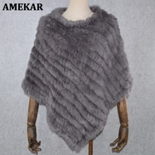 2021 Hot Sale Women Real Rabbit Fur Shawl Natural Real Knitted Real Rabbit Fur Poncho Scarf Autumn W