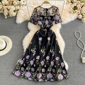 2021 новые летние элегантные женские с О-образным вырезом с коротким рукавом платье для женщин сетки шить с цветочной вышивкой длинное платье вечерние платья
