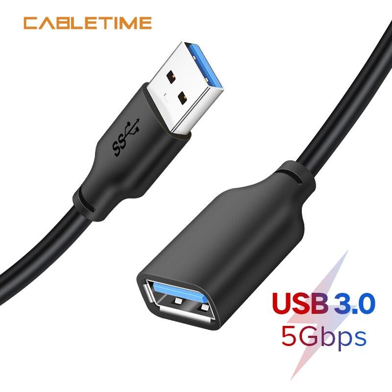Кабель-удлинитель USB CABLETIME Кабель USB 3,0 5 Гбит/с для Smart TV PS4 Xbox One SSD USB удлинитель Кабель для передачи данных USB адаптер N313