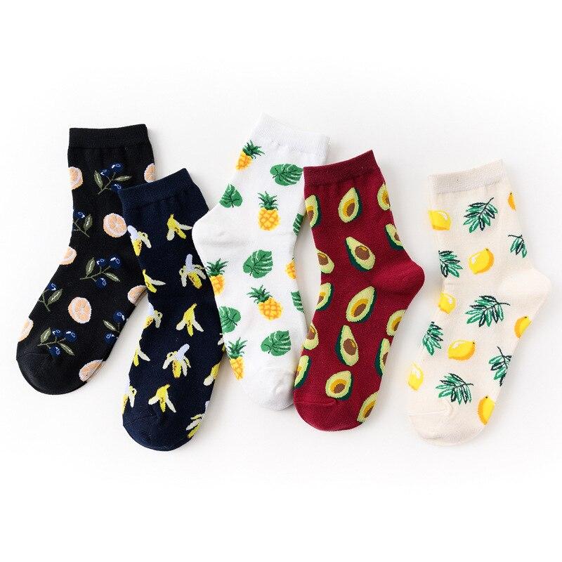 MISM Korean Fashion Woman Socks Lemon Banana Cotton Funny Man Socks Print Mid Fresh Fruits Sock harajuku skarpetki Dropshipping