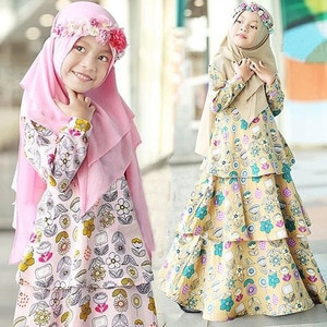 Abaya Turkey Muslim Dress Ramadan Eid Mubarak Girls Kids Children 1-5Year Dubai Arabic Hijab Dress Abaya Caftan Islamic Clothing