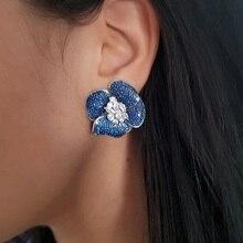 High quality micro pave blue black cubic zirconia cz bloom flower Big cz flower cz women earring