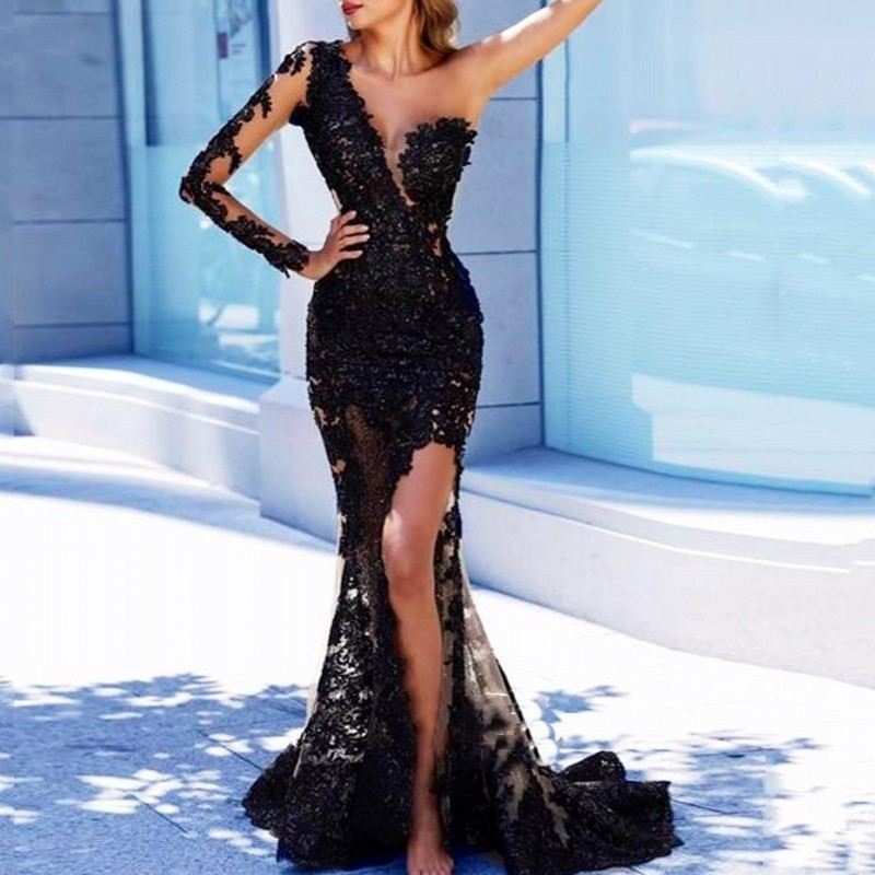 Black Arabian Mermaid Long Evening Dresses Full Sleeves Appliques Evening Party Gowns One Shoulder Sexy Robe De Soiree