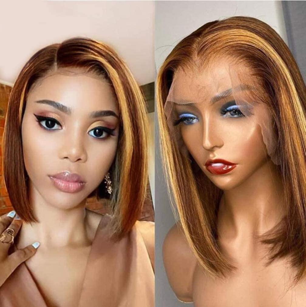 Short Bob Wigs T Part Straight Remy Brazilian Human Hair For Black Women Lace Front Closure Transparent Lace Ombre Wig ALEESA