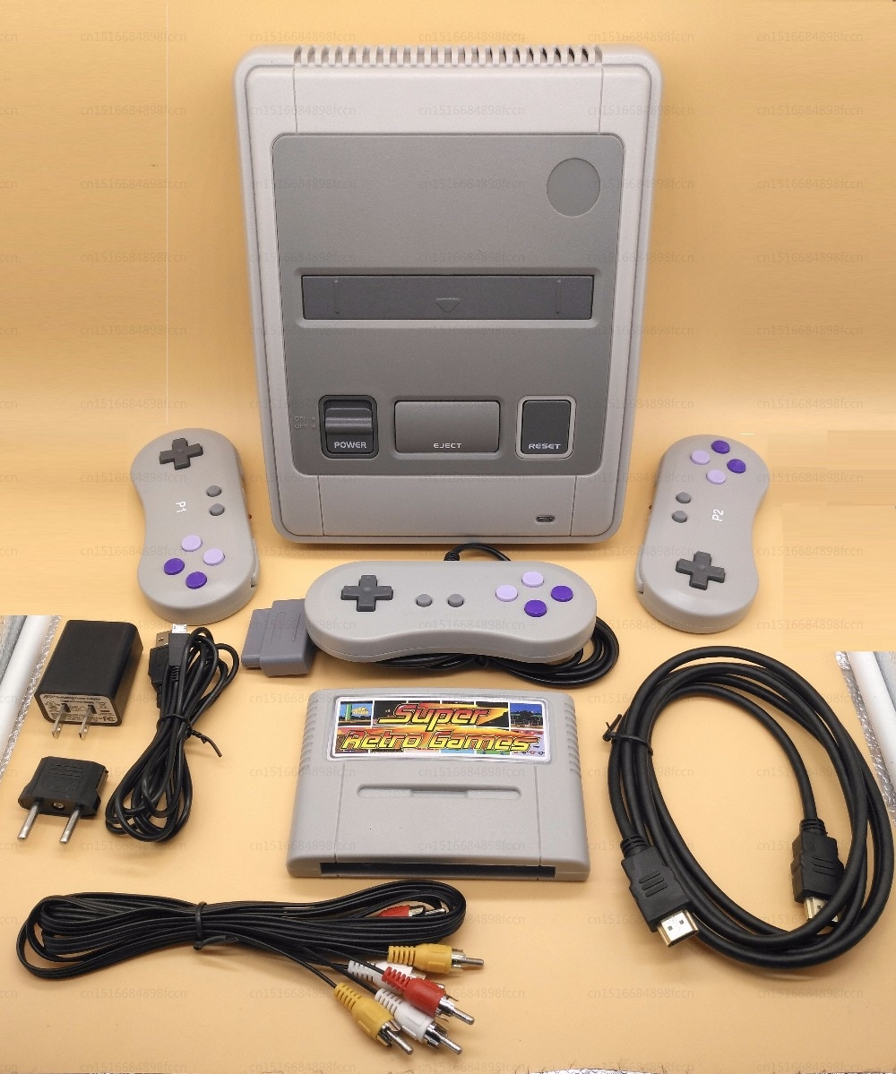 Retro TV Video Game Console For Snes Game Cartridges with 2 Wireless+1 Wired Gamepads Free Game Card with 344 Games for Nes enlarge
