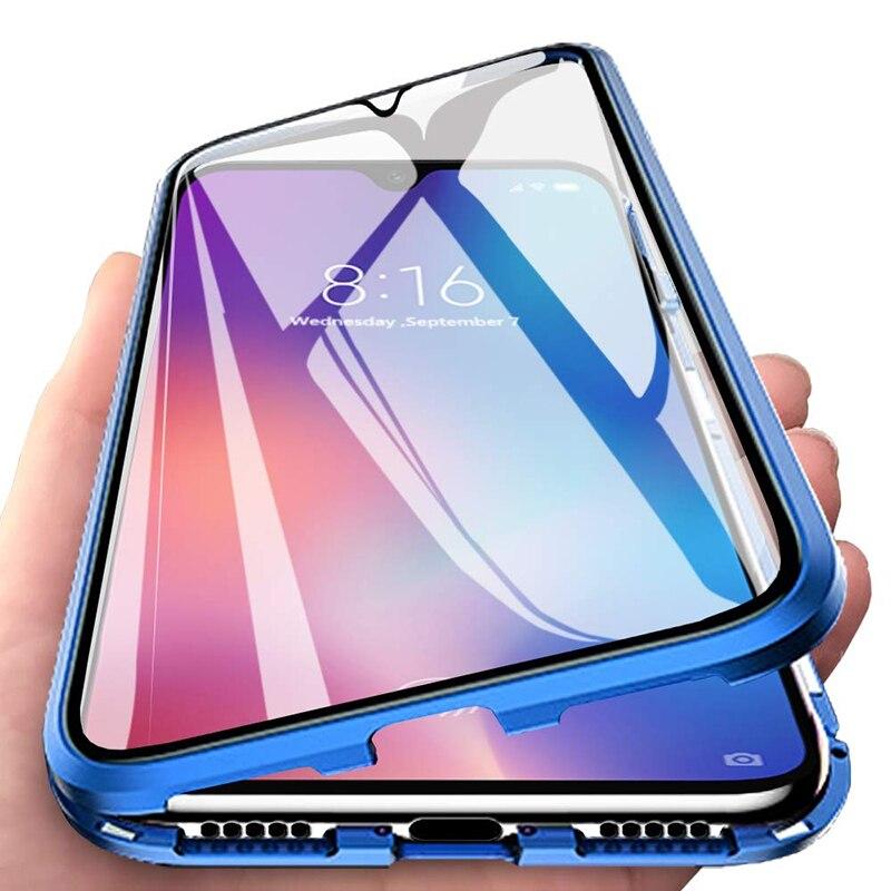 Doble cara funda de vidrio templado para teléfono para Xiaomi Mi A3 A3Pro A3Lite adsorción magnética de Metal funda trasera del teléfono MiA3 Pro Lite