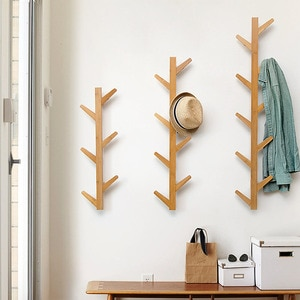 Living Room Furniture Wall Hanging Clothes Hook Wooden Wall Hanging Clothes Hook Wall Bamboo Creative Clothes Rack