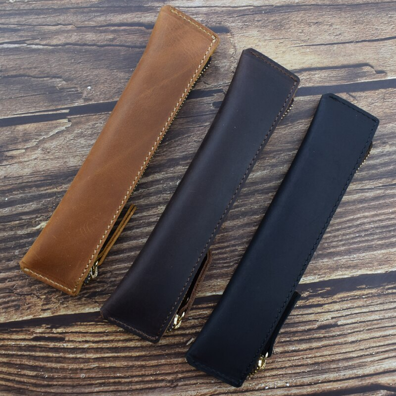 Portable Genuine Leather Retro Pencil Case Handmade Cowhide Zipper Pencil Bag  Vintage Office School Writing Stationery Storage
