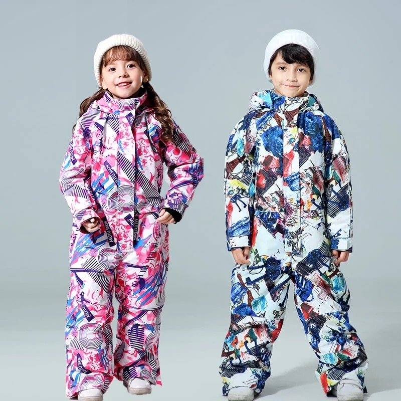 Children Ski Jumpsuit 2021 Winter Snowboard Jacket Boys and Girls Outdoor Snow Suits Warm Waterproof Kids Ski Jacket