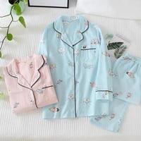 springautumn new pajamas set women pure cotton gauze thin summer cartoon ladies long sleeves sleepwear loose comfy home clothes