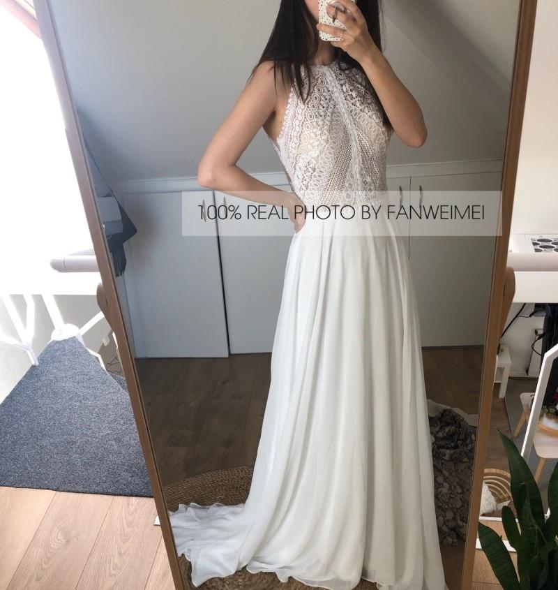 100% REAL PHOTOS 2020 New Design Detachable Short Sleeve High Neck A-Line Chiffon Summer Wedding Dresses Wholesale
