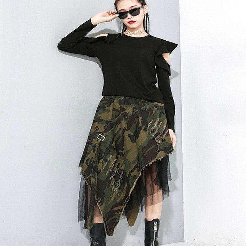 Falda larga de algodón con flecos Saia Longa Saia Midi, falda larga Lolita, falda tutú lisa de poliéster, Camuflaje Irregular 2020
