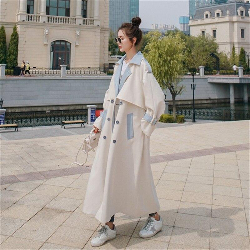 المرأة سترة واقية موضة جديدة خياطة معطف طويل ربيع الخريف الكورية مزدوجة الصدر خندق معطف الإناث الملابس المد H1639