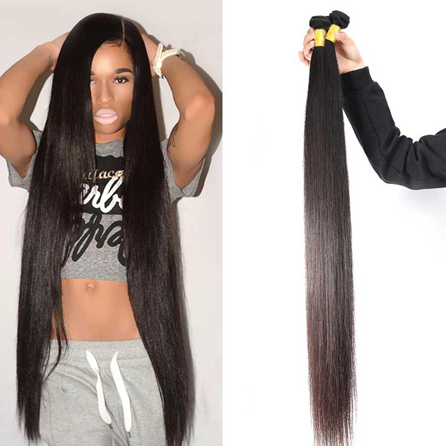 Straight Hair Bundles Brazilian Hair Weave Bundles Human Hair 3 4 Bundles Deals 30 32 34 36 38 40 Inch Remy Hair Extensions
