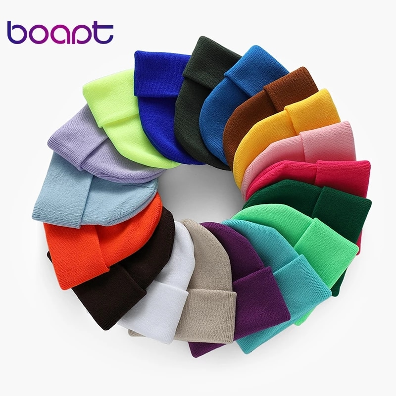 Fashion Solid Color Knitted Beanies Hat Winter Warm Ski Hats Men Women Multicolor Skullies Caps Soft